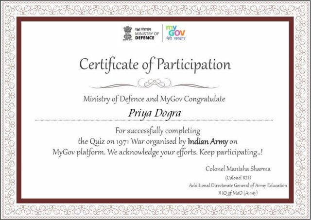 indian army certificate