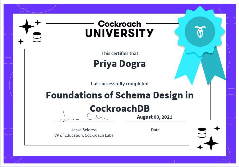 cockroach university free certificate