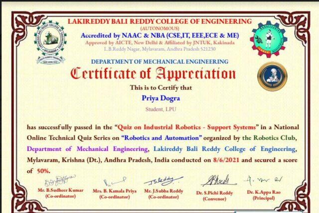 robotics certificate