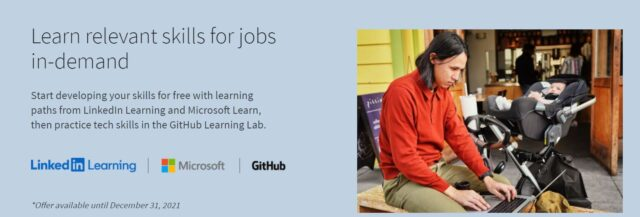 linkedin , microsoft,github free courses