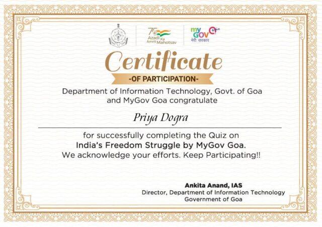 Quiz on India's Freedom Struggle certificate